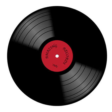 A vinyl record with red label isolated on a white background