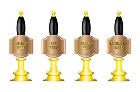 4 beer pump design with text isolated on a white background