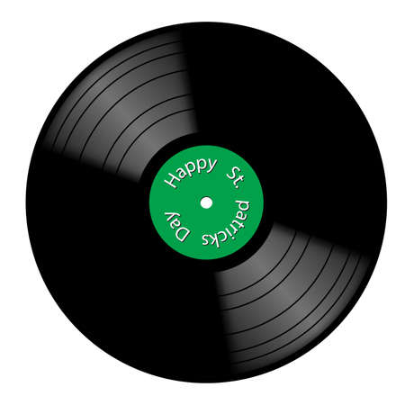 A vinyl record with St. Patricks day green label isolated on a white background