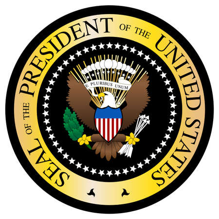 A Presidential seal design isolated on a white background Vector Illustration