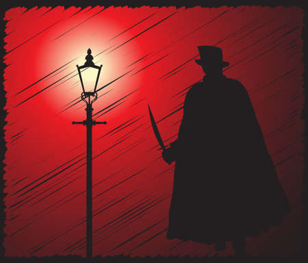 villain: A grunged silhouette of jack the ripper with a knife in the light of a street lamp