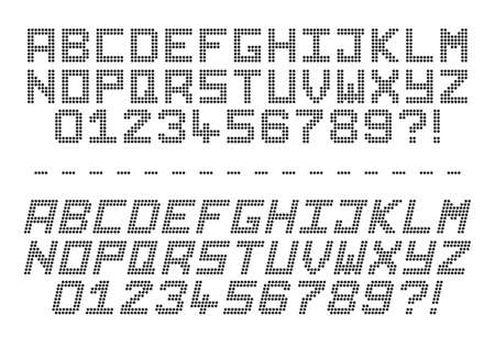 A dot code alphabet in capitals and in italics isolated on a white background