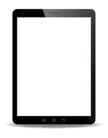 A realistic tablet screen isolated on a white background Vector Illustration