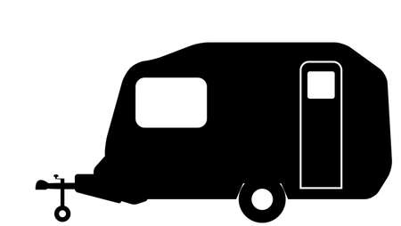 pokey: A very small retro pod style caravan silhouette isolated on a white background