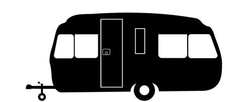 A retro style family caravan silhouette isolated on a white background Illustration