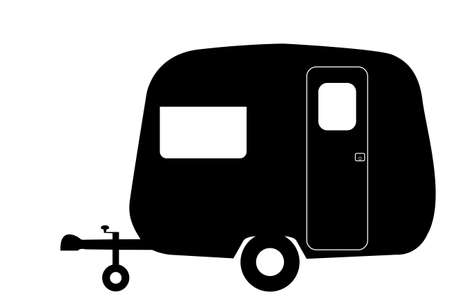 A tiny retro caravan silhouette isolated on a white background