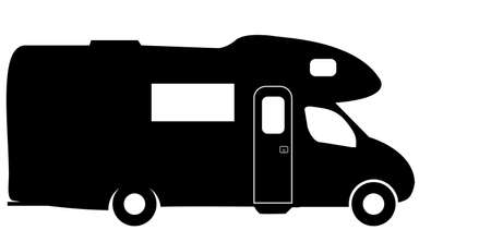 A medium sized RV camper van isolated on a white background Ilustracja