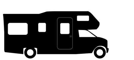 A retro rv camper van silhouette isolated on a white background Illustration