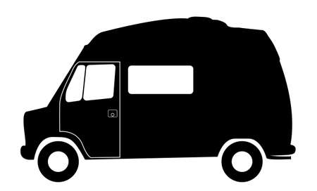 A retro short wheel based rv camper van silhouette isolated on a white background