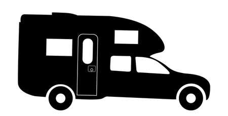 Een truck rv camper van silhouet geïsoleerd op een witte achtergrond