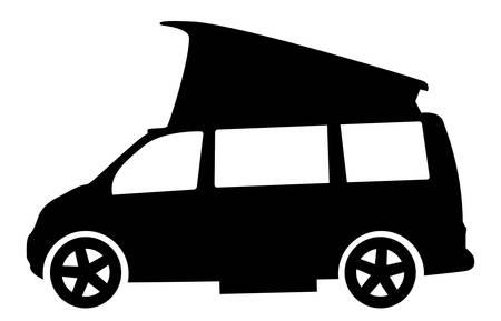 Een moderne rv camper van silhouet geïsoleerd op een whote achtergrond Stock Illustratie