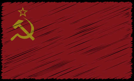 A grunged soviet flag design background Ilustracja