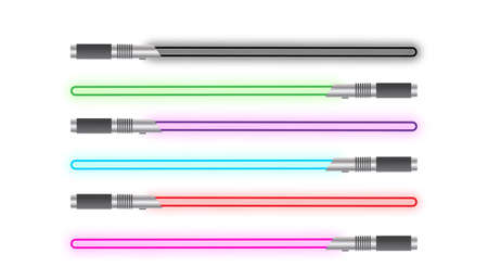 A selection of light swords of different colours isolated on a white background Ilustracja