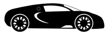 Een hypercar silhouet geïsoleerd op een witte achtergrond Stock Illustratie