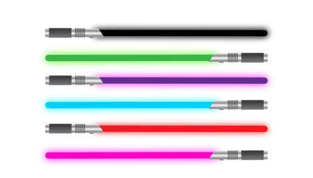 A selection of light swords of different colours isolated on a white background Illustration