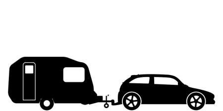 A silhouette of a hatchback car towing a caravan illustration. Illustration