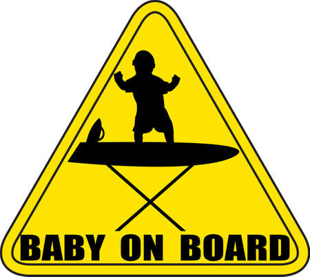 A baby on an ironing board sign silhouette no background