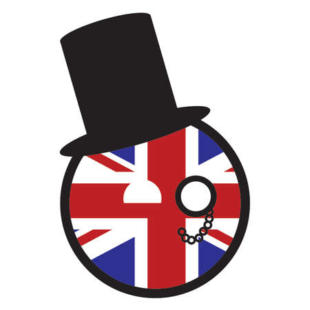 A british flag ball with top hat and monocle isolated on a white background
