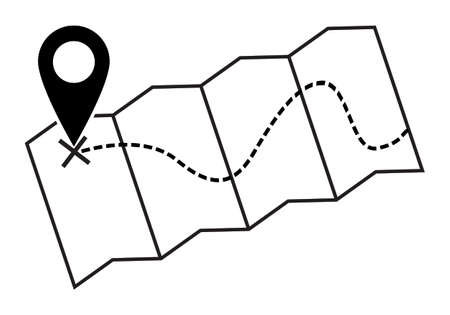 A map silhouette with a dotted line isolated on a white background Illustration
