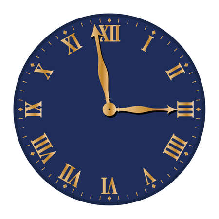 An Old Clock Face Design Isolated On A White Background