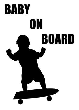 A baby on board sign silhouette surfing isolated on a white background