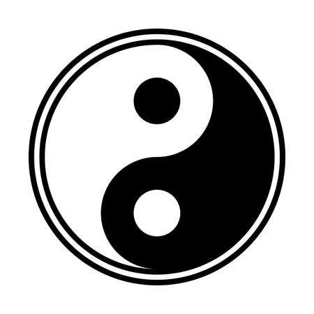 A yin and yang design isolated on a white background Ilustração
