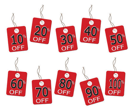 10 sales tags on string from 10% to 100% isolated on a white background
