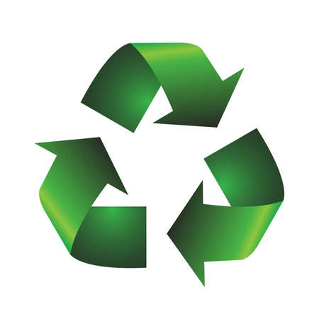 A green textured recycle symbol isolated on a white background
