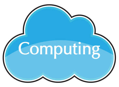 A cloud computing blue icon isolated on a white background Illustration