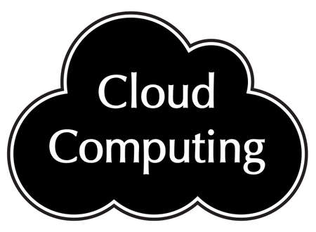 A cloud computing silhouette isolated on a white background