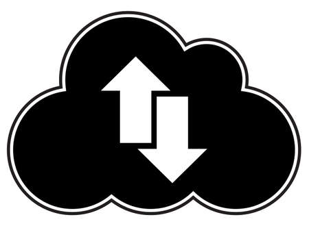 A cloud computing silhouette with arrows isolated on a white background