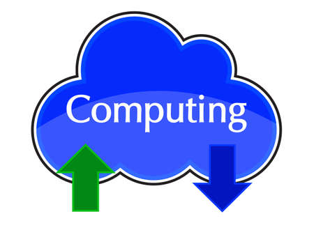 A cloud computing upload and download icon blue isolated on a white background