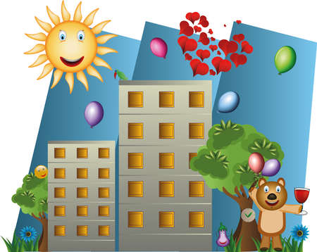 Illustration of buildings and trees, with a bear holding balloons Illustration