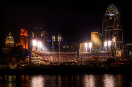 reds: Downtown Cincinnati Ohio Editorial