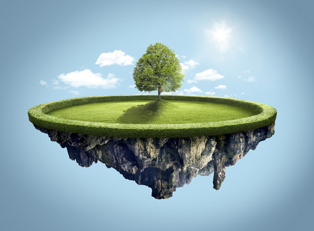 dashing: Amazing island with tree floating in the air under clouds and lovely sun ray