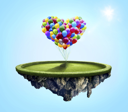 under heart: Amazing island with love heart colorful balloons floating in the air under lovely sun ray
