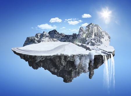 dashing: Magic winter island with floating islands, water fall and snow