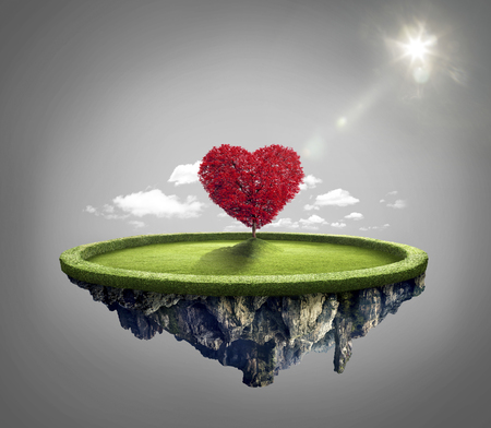 under heart: Amazing island with red love heart tree floating in the air under lovely sun ray