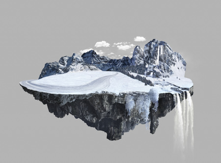 dashing: Amazing winter island with grove floating in the air with water fall and snow Stock Photo