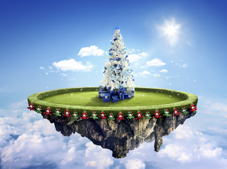 dashing: Amazing fantasy scenery with floating islands with white Christmas tree, hot balloons and decoration
