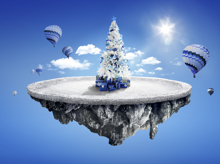 dashing: Amazing fantasy scenery with floating islands with white Christmas tree, hot balloons and decoration in winter