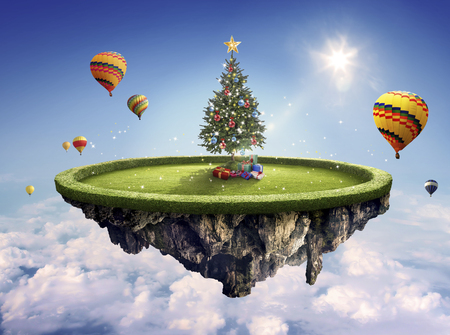 dashing: Beautiful decorated Christmas tree with present boxes and hot balloons in the amazing floating island Stock Photo