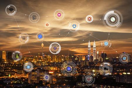 도시 풍경과 네트워크 연결 개념