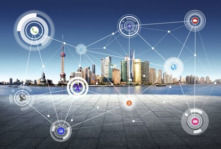 network connection: Shanghai China city scape and network connection concept Stock Photo