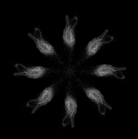 White powder isolated on black background