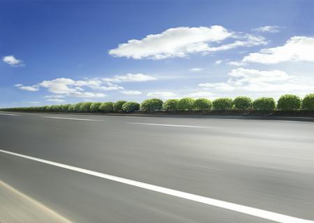 racetrack: Motion blurred racetrack view on empty road asphalt