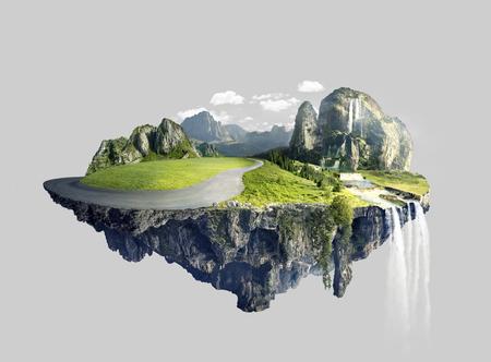 Isola sorprendente con boschetto galleggiante in aria