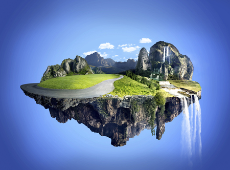 Amazing fantasy scenery with floating islands, water fall and field on blue sky background