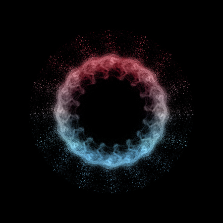 colored powder: Isolated of abstract colored powder flower on black background Stock Photo