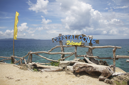 View of Crystal Cove small island near Boracay island in the Philippines Stock Photo